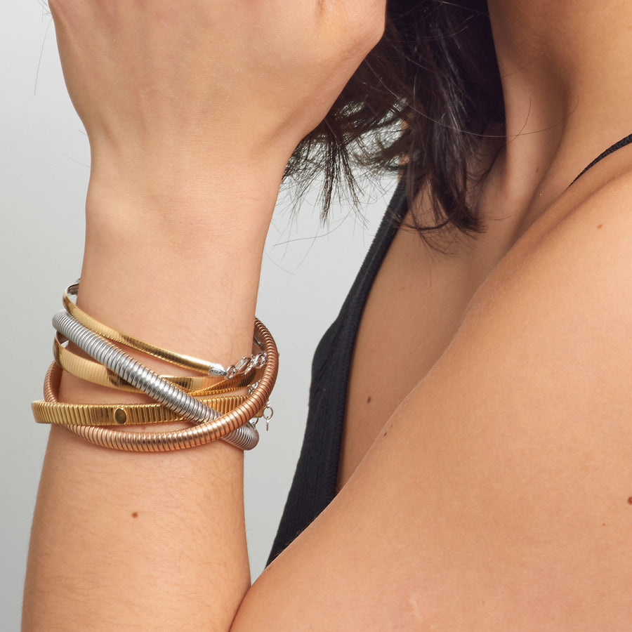 La REVERSIBLE CZ Bracelet - Gold and Silver