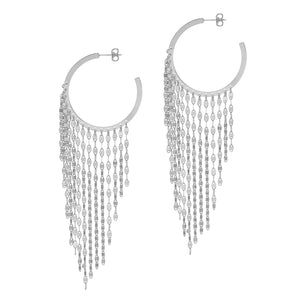 La CASCADA Drop Large Hoops Silver
