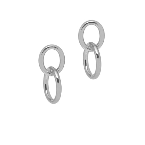 La CATENA Shiny Double Loop Earrings Silver