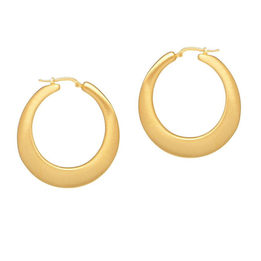 La SATIN & SHINY oval gold hoops - SALE
