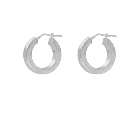 La SQUARE SATINA Hoops Silver