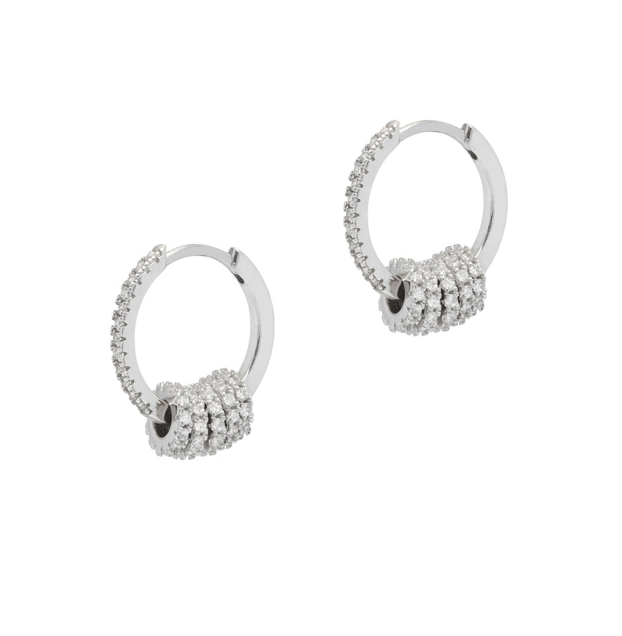 La CZ DISCO Huggies - Silver - The Hoop Station 925 Sterling Silver Hoop Earrings Gold Huggies