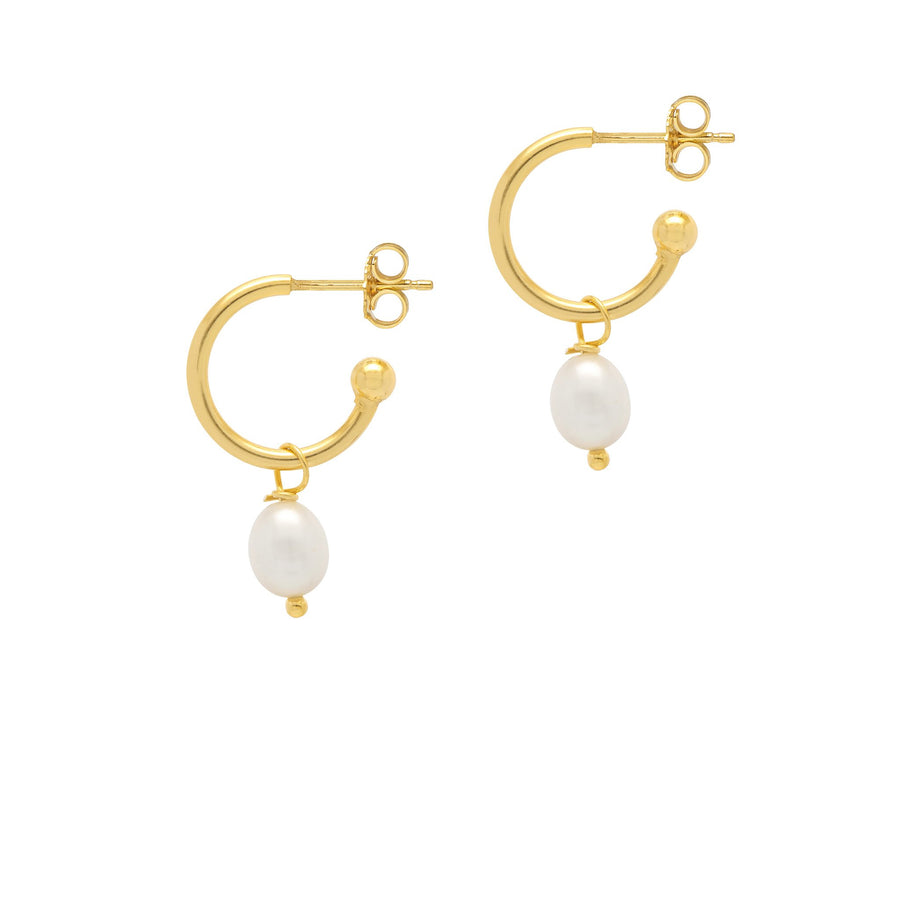La PERLA DROPS - Gold & Pearls - The Hoop Station 925 Sterling Silver Hoop Earrings Gold Huggies