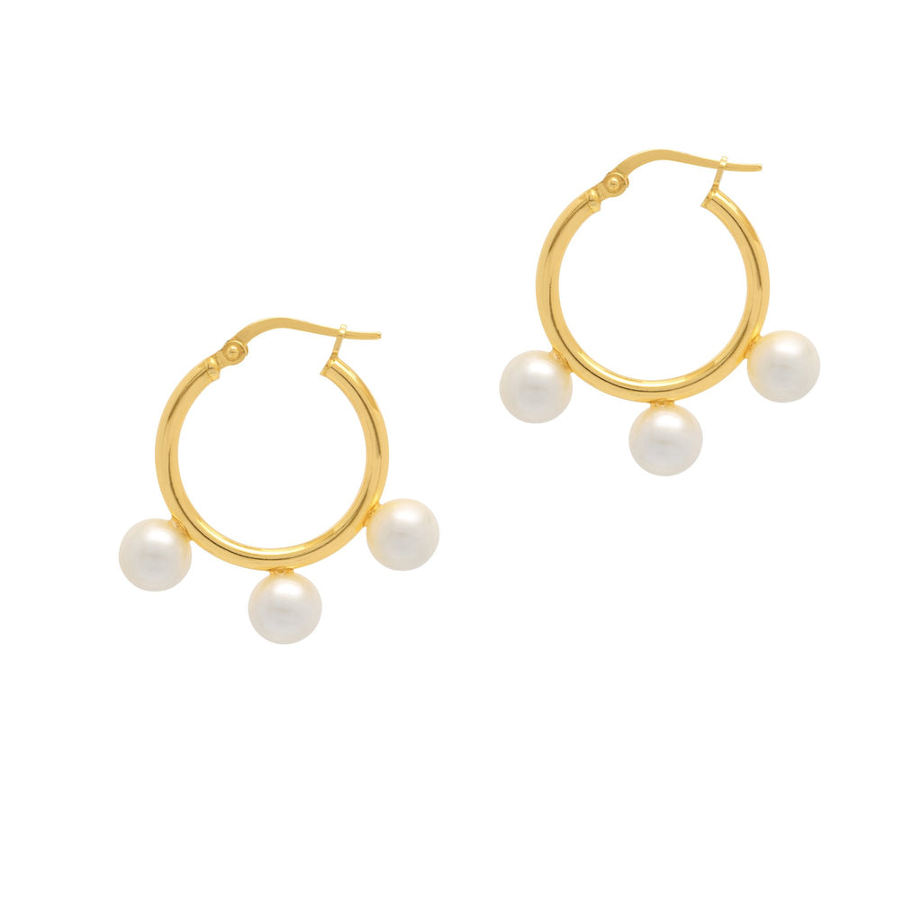 La TRIPLE PERLA Hoops - Gold - Georgiana Scott Jewellery