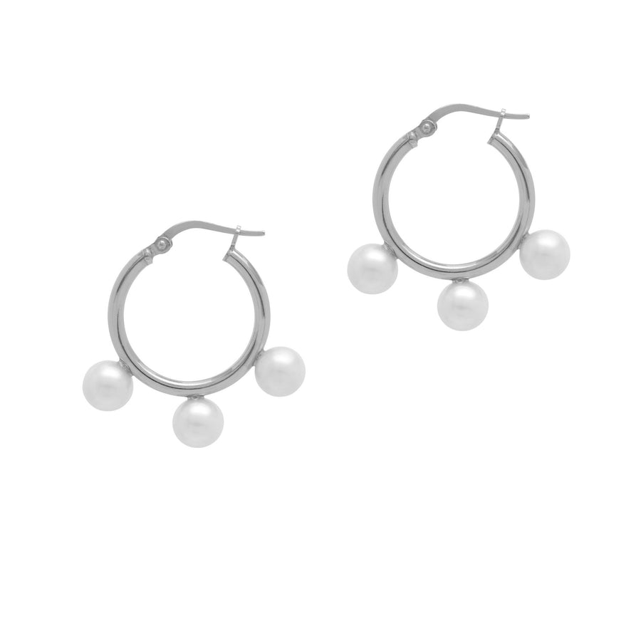 La TRIPLE PERLA DROP Hoops - Silver