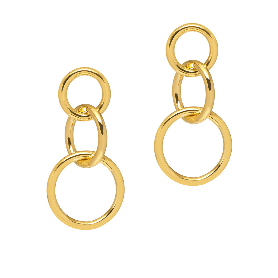 La CATENA Shiny Triple Drop Earrings - Gold
