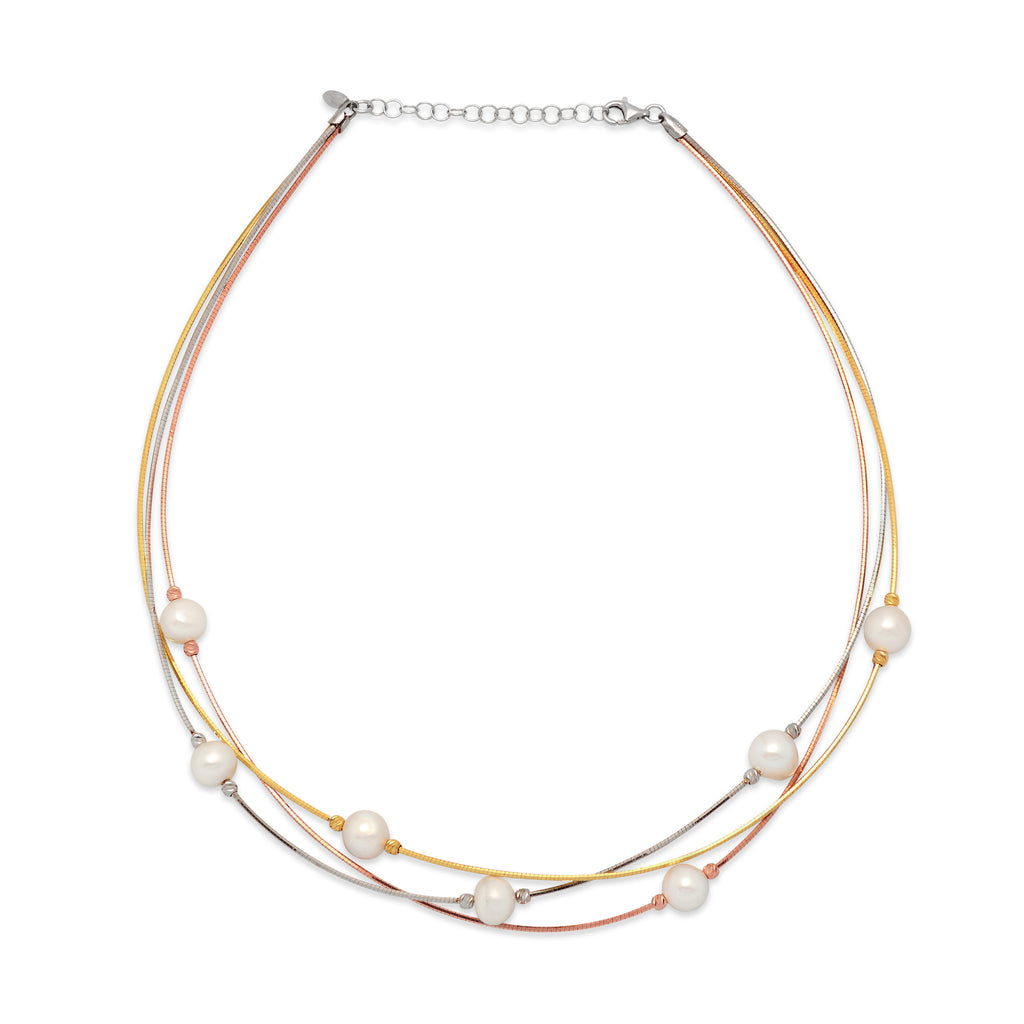 La 3 Row PERLA-on-WIRE - Tricolour - Georgiana Scott Jewellery