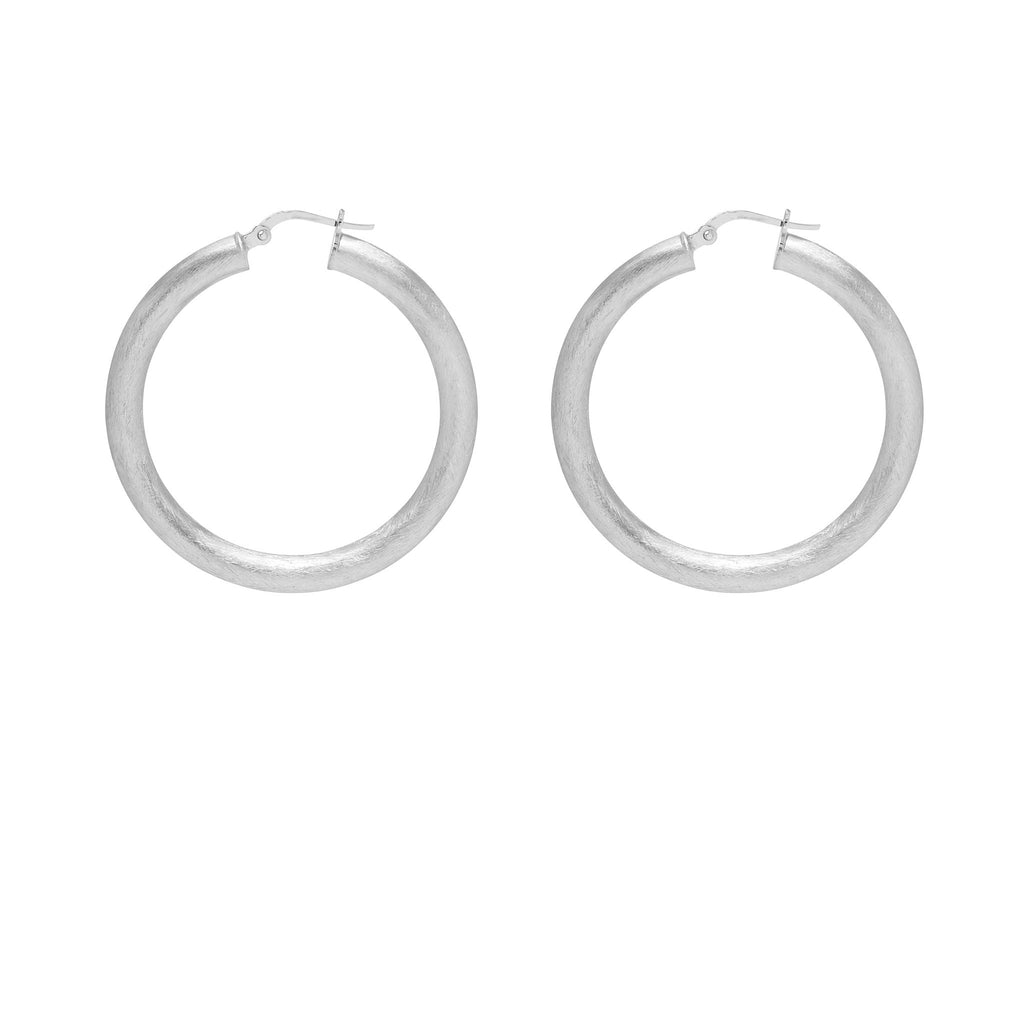 La SATINA ROUND-EDGED Hoops Silver - Georgiana Scott Jewellery