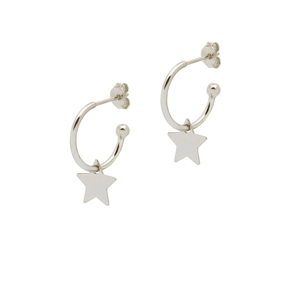 La STELLA 'Star' CHARM Hoops - Silver - Georgiana Scott Jewellery