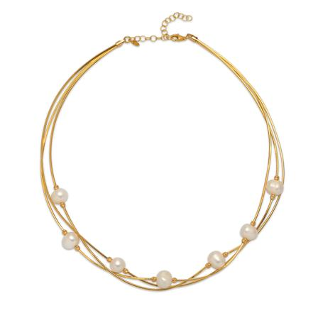 La 3 Row PERLA-on-WIRE - Gold - Georgiana Scott Jewellery
