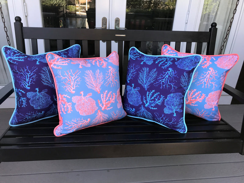 A FAN OF BLUE CORAL INDOOR/OUTDOOR PILLOW