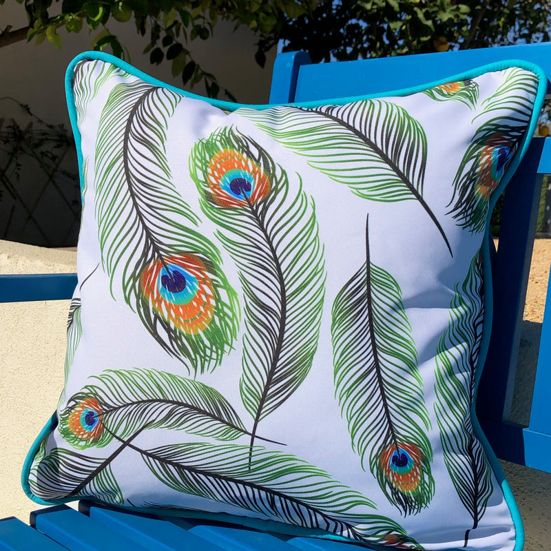 PEACOCK FEATHERS INDOOR/OUTDOOR PILLOW