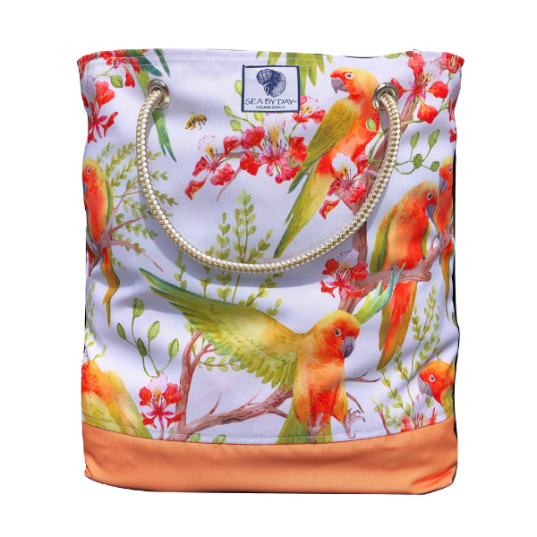Tangerine Parrot Bucket Bag