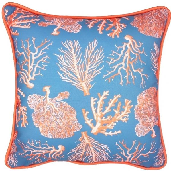A FAN OF RED CORAL INDOOR/OUTDOOR PILLOW ...