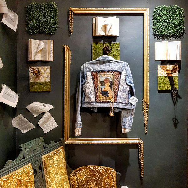 Broken frame denim jacket display