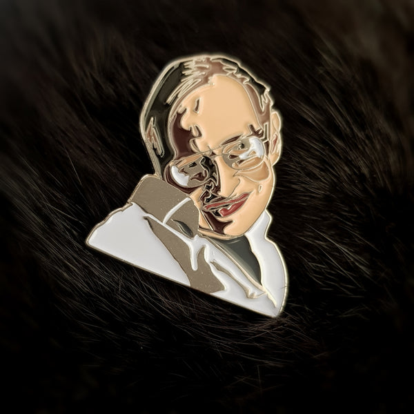 Stephen Hawking Enamel Lapel Pin / Brooch