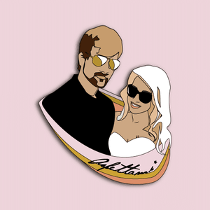 "OGHMC:Custom Enamel Pin: 2"" Couple's Portrait: Wedding Favors"