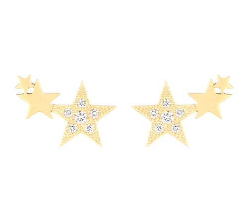 3 STARS STUDS WITH DIAMONDS - YELLOW GOLD