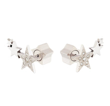 Load image into Gallery viewer, 3 STARS STUDS WITH DIAMONDS - WHITE GOLD