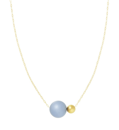 ANGELITE NECKLACE WITH GOLD BEAD