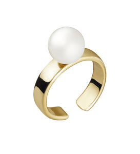 CUFF RING WITH PEARL - YELLOW GOLD