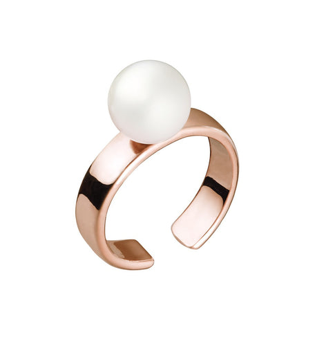 CUFF RING WITH PEARL - ROSE GOLD