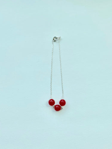 C&D BEADS BRACELET - RUBY JADE STERLING SILVER