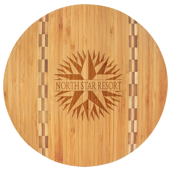 Bamboo Round Cutting Board with Butcher Block Inlay