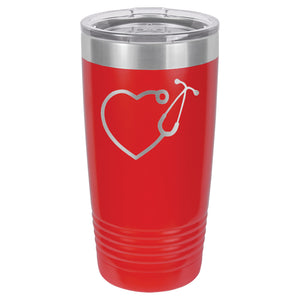Stethoscope Heart for Medical Personnel Tumbler  20 oz. - 18 color options