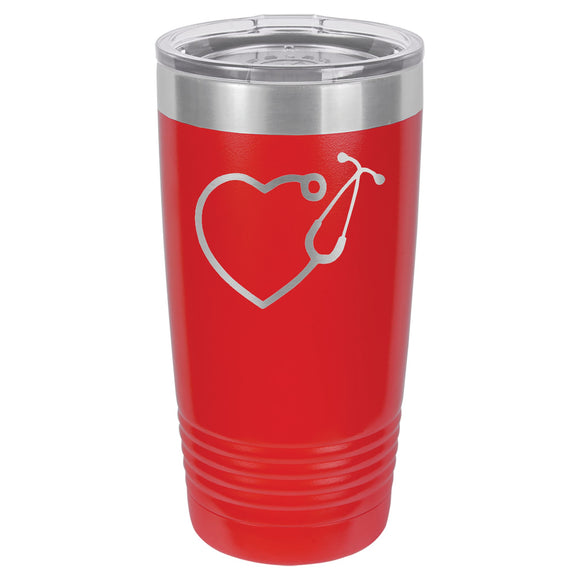 Stethoscope Heart for Medical Personnel Tumbler  20 oz. - 17 color options