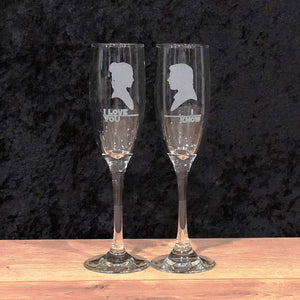 Toasting Flutes - Set of two - Wedding, Anniversary, Engagement Champagne Flutes