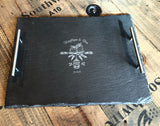 Owl Wedding Slate Tray w/Steel Handles