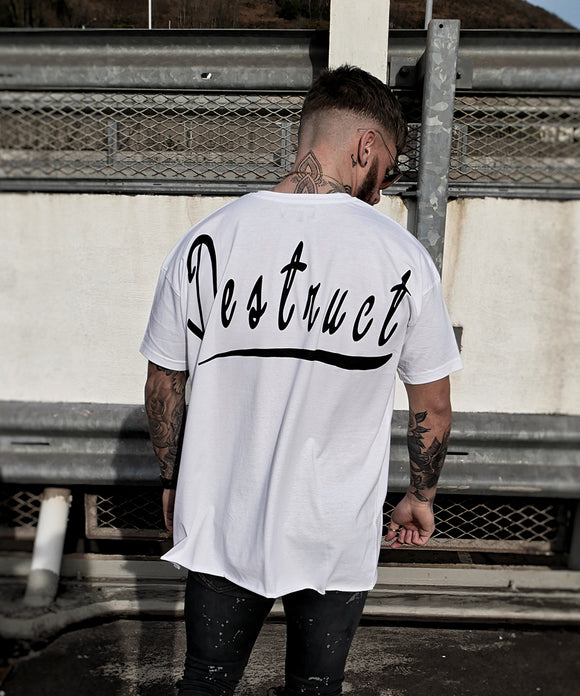 White Oversized Raw Hem - Destruct Clothing