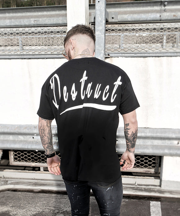 Black Oversized Raw Hem - Destruct Clothing
