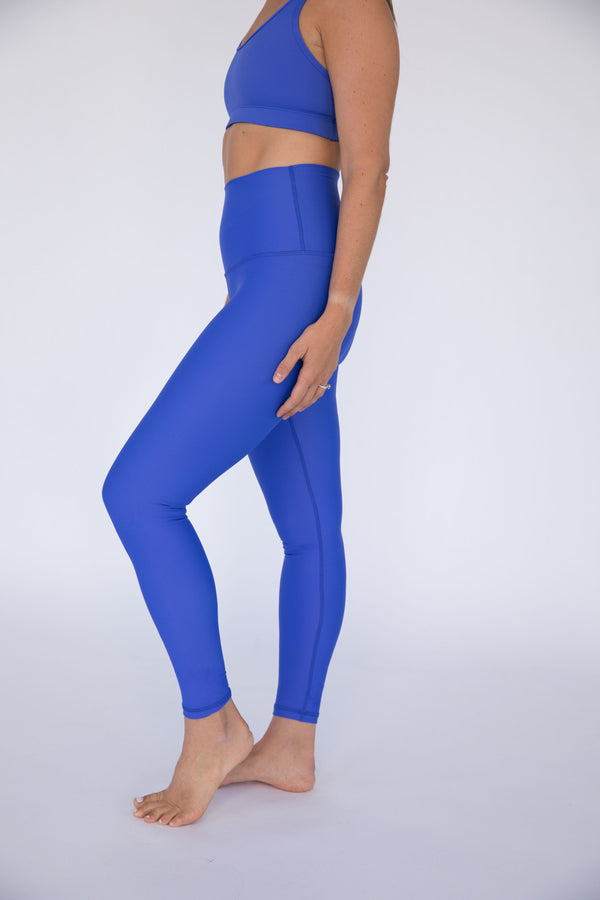 Periwinkle Blue Solid High Waisted Leggings