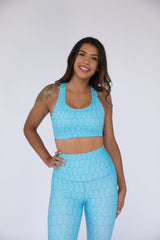 Pineapple Paradise (Teal/White) Classic Sports Bra