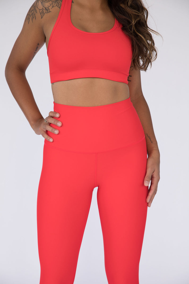 Candy Apple Red Solid High Waisted Leggings