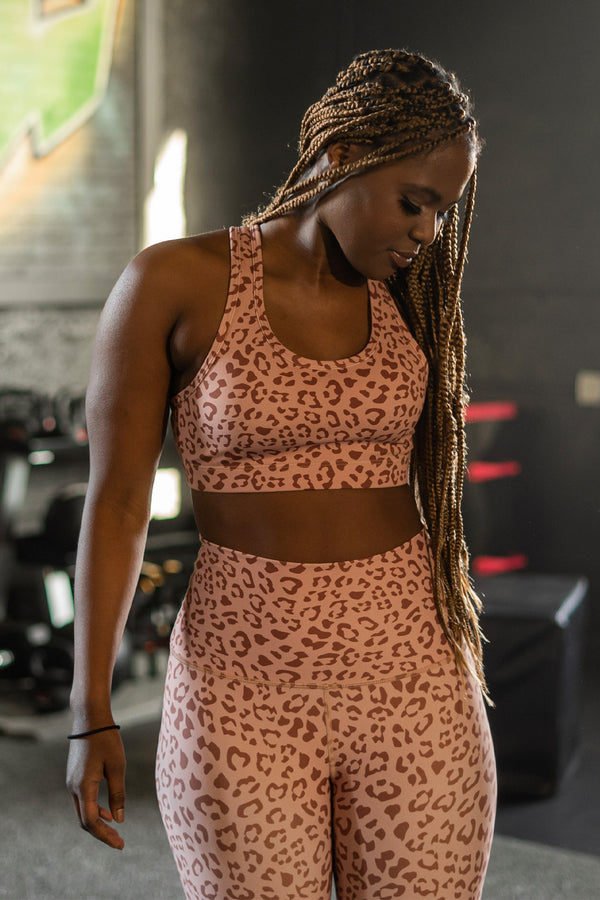 Leopard Latte Performance Sports Bra