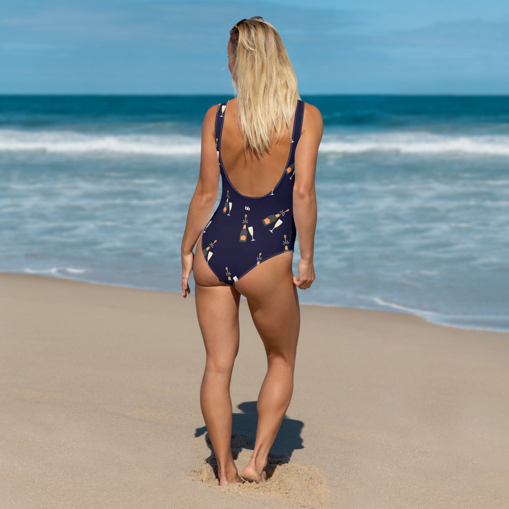 Champagne Campaign Navy One-Piece Swimsuit