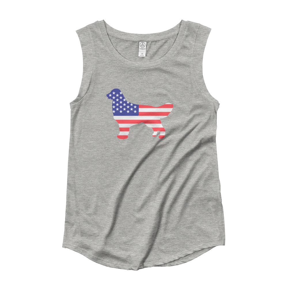 Dog Bless America Ladies' Cap Sleeve T-Shirt