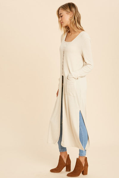 CREAM Ribbed Duster Cardigan
