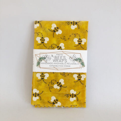 Bee Print Beeswax Food Wraps