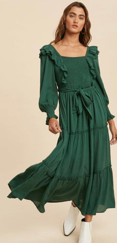 Emmie Ruffle Dress in Emerald