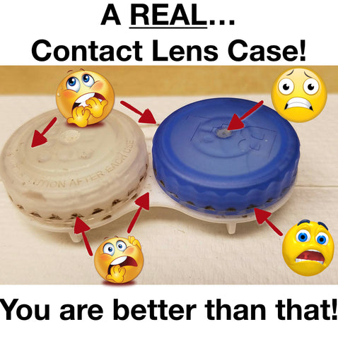 dirty contact lens case.  clean your contacts properly.  eye doctor davidson