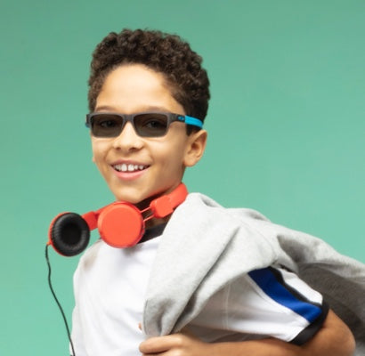 boy with uv protection glasses