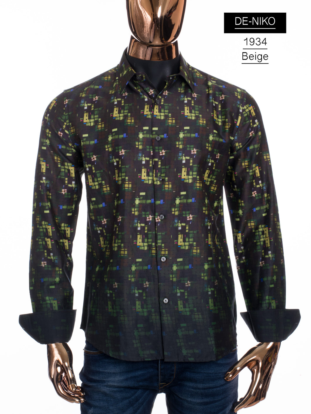 De-Niko Beige Button Up Retro Style Black Green Pixelated Dress Shirt