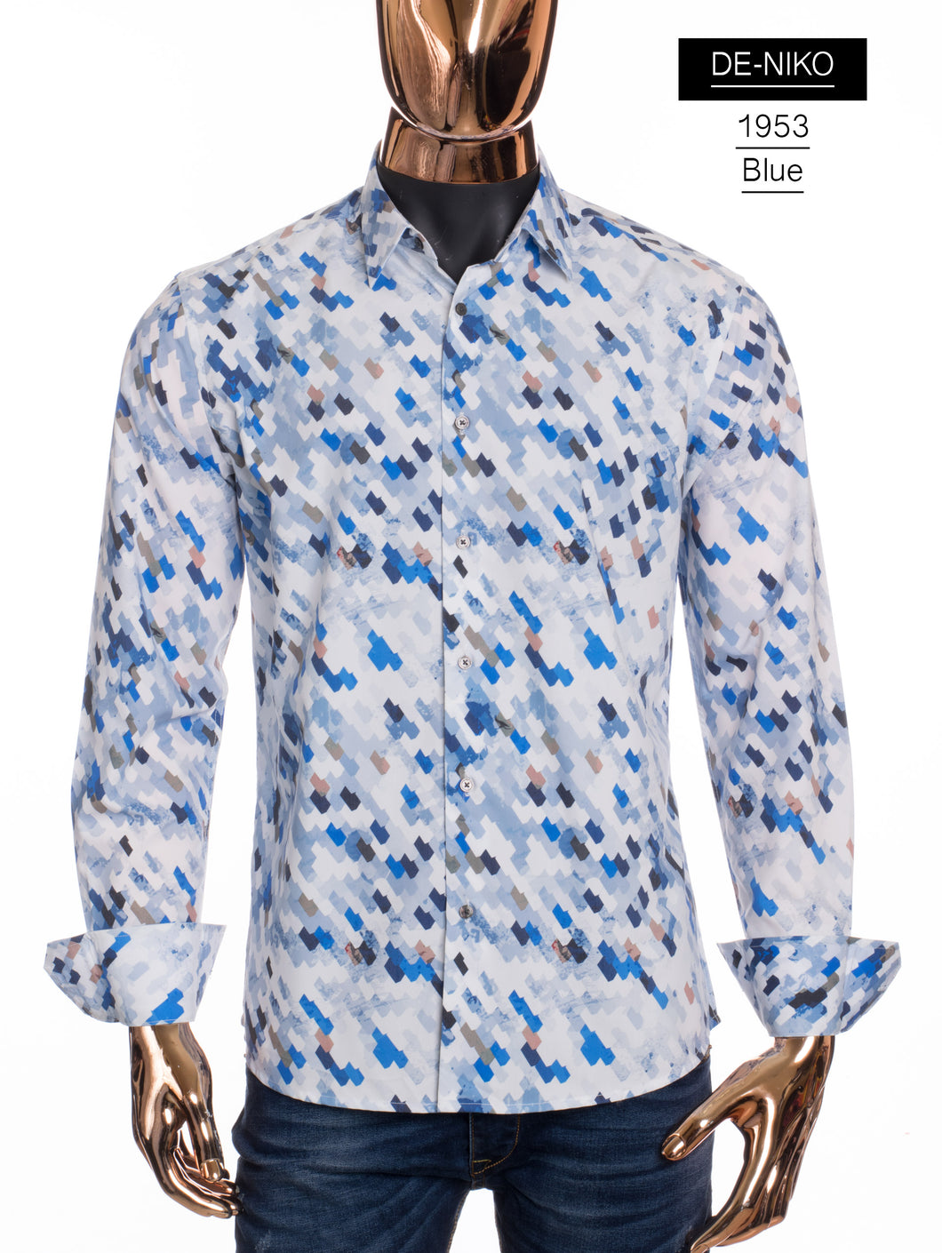 De-Niko White Button Up Retro Diagonal Pattern Dress Shirt