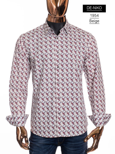 De-Niko Beige Button Up Brown Honeycomb Pattern Dress Shirt