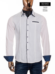 De-Niko White Button Up Checkered Patch Pattern Dress Shirt