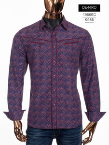 De-Niko Blue Pink Button Up Diagonal Dot Pattern Western Dress Shirt